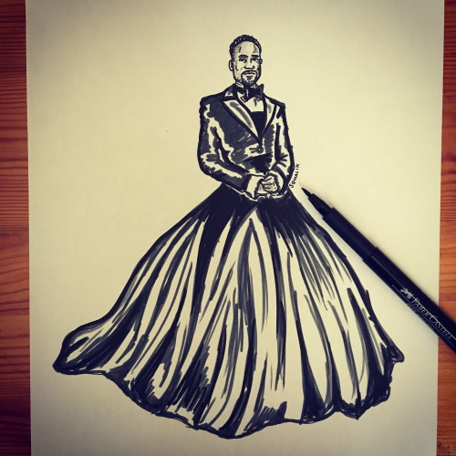 Billy Porter ink sketch by Suzy Malik